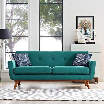 Engage Upholstered Fabric Loveseat (Teal)