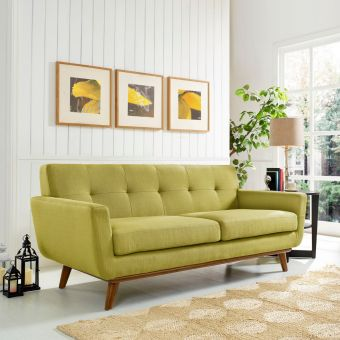 Engage Upholstered Fabric Loveseat (Wheatgrass)