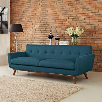 Engage Upholstered Fabric Sofa (Azure)