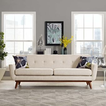 Engage Upholstered Fabric Sofa (Beige)