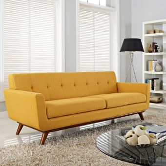 Engage Upholstered Fabric Sofa (Citrus)