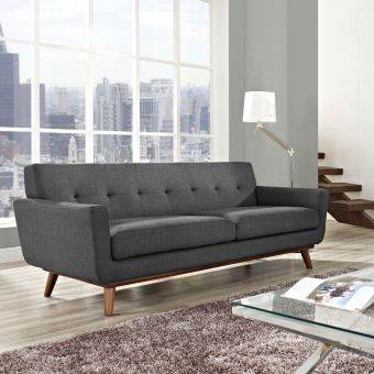 Engage Upholstered Fabric Sofa (Gray)