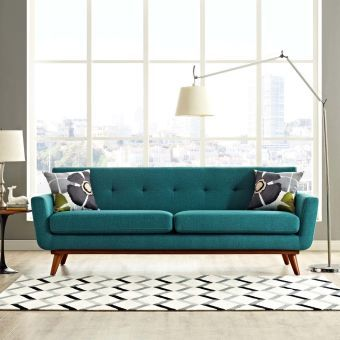 Engage Upholstered Fabric Sofa (Teal)