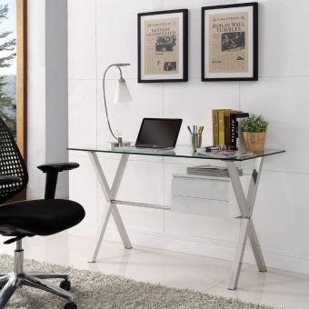 Stasis Glass Top Office Desk (White)