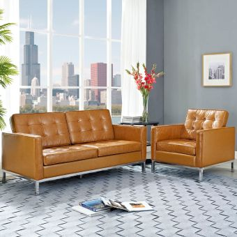 Loft Loveseat Leather 2 Piece Set (Tan)