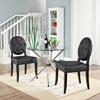 Casper Buttoned Dining Side Chair Set of 2 (Black)
