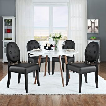 Casper Buttoned Dining Side Chair Set of 4 (Black)