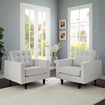 Empress Armchair Leather Set of 2 (White)