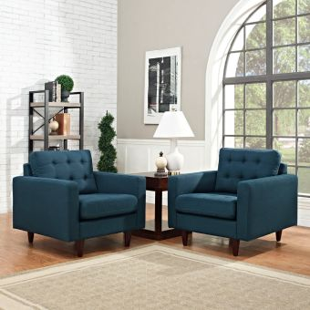 Empress Armchair Upholstered Fabric Set of 2 (Azure)