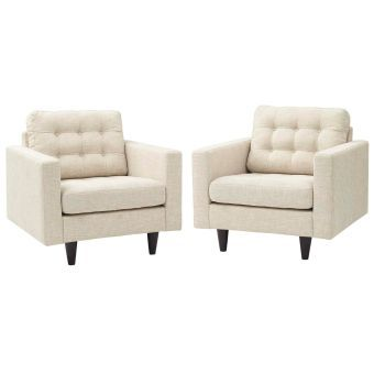 Empress Armchair Upholstered Fabric Set of 2 (Beige)