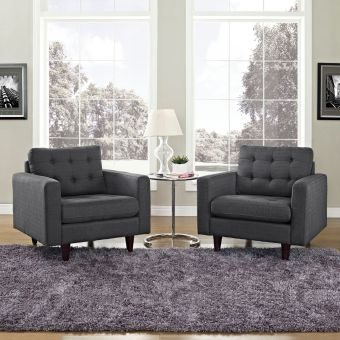 Empress Armchair Upholstered Fabric Set of 2 (Gray)