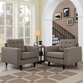 Empress Armchair Upholstered Fabric Set of 2 (Granite)
