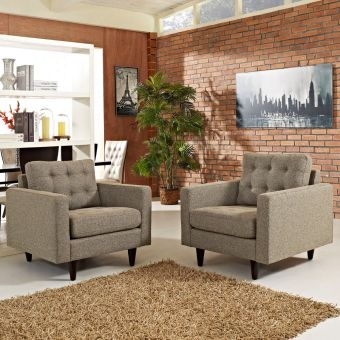 Empress Armchair Upholstered Fabric Set of 2 (Oatmeal)