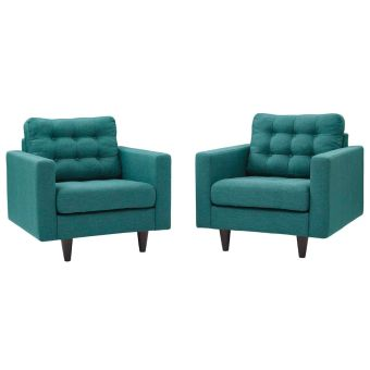 Empress Armchair Upholstered Fabric Set of 2 (Teal)