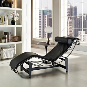 Charles Leather Chaise Lounge (Black)