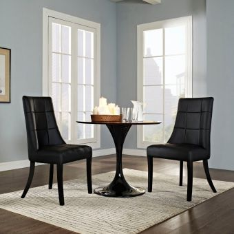 Noblesse Vinyl Dining Chair Set of 2 (Black)