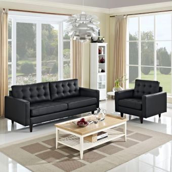 Empress Sofa and Armchair Set of 2 (Black)