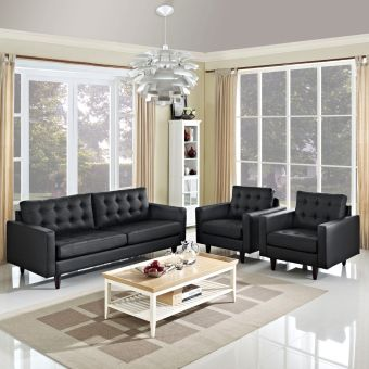 Empress Sofa and Armchairs Set of 3 (Black)
