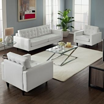 Empress Sofa and Armchairs Set of 3 (White)