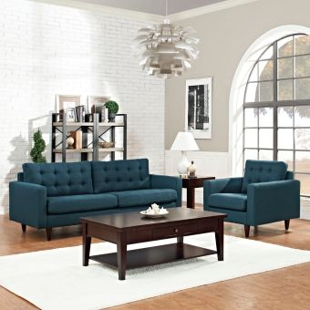 Empress Armchair and Sofa Set of 2 (Azure)