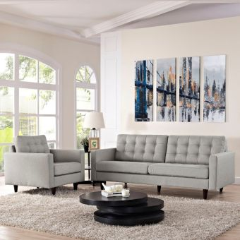 Empress Armchair and Sofa Set of 2 (Light Gray)