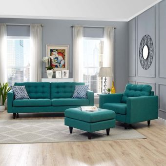 Empress Armchair and Sofa Set of 2 (Teal)