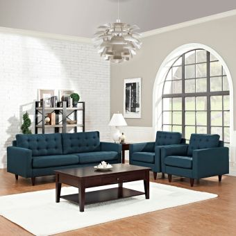 Empress Sofa and Armchairs Set of 3 (Azure)