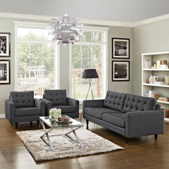 Empress Sofa and Armchairs Set of 3 (Gray)