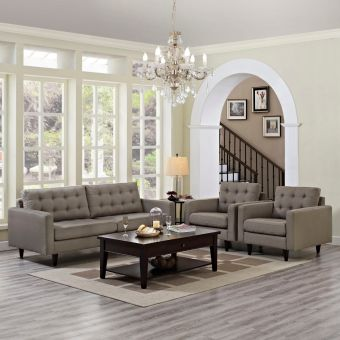 Empress Sofa and Armchairs Set of 3 (Granite)