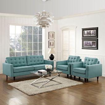 Empress Sofa and Armchairs Set of 3 (Laguna)