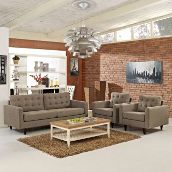 Empress Sofa and Armchairs Set of 3 (Oatmeal)