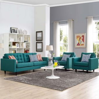 Empress Sofa and Armchairs Set of 3 (Teal)