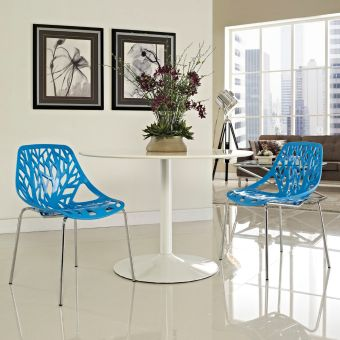 Stencil Dining Side Chair Set of 2 (Blue)