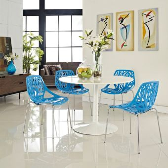 Stencil Dining Side Chair Set of 4 (Blue)