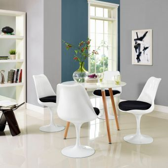 Lippa Dining Side Chair Fabric Set of 4 (Black)