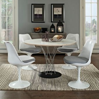 Lippa Dining Side Chair Fabric Set of 4 (Gray)