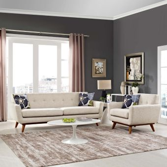 Engage Armchair and Sofa Set of 2 (Beige)