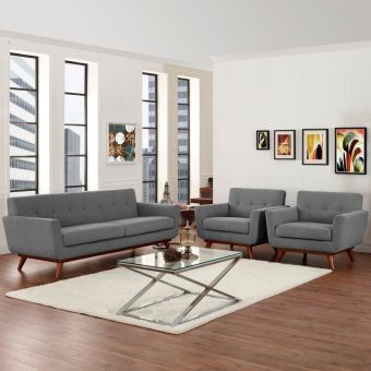 Engage Armchairs and Sofa Set of 3 (Expectation Gray)
