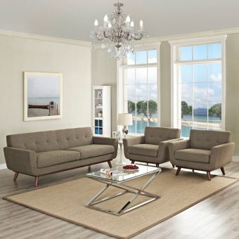 Engage Armchairs and Sofa Set of 3 (Oatmeal)