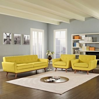 Engage Armchairs and Sofa Set of 3 (Sunny)