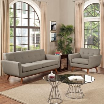 Engage Armchair and Loveseat Set of 2 (Granite)