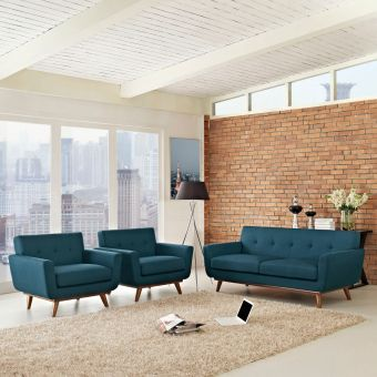 Engage Armchairs and Loveseat Set of 3 (Azure)