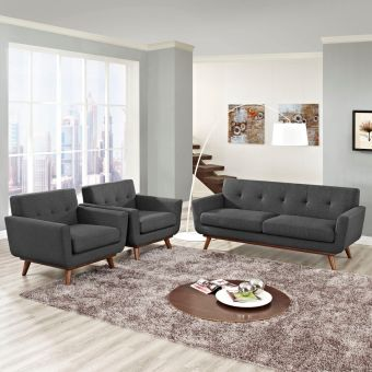 Engage Armchairs and Loveseat Set of 3 (Gray)