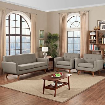 Engage Armchairs and Loveseat Set of 3 (Granite)