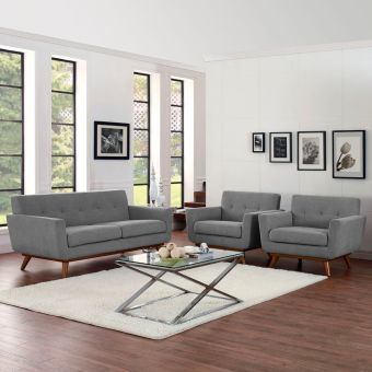 Engage Armchairs and Loveseat Set of 3 (Expectation Gray)