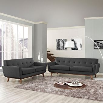 Engage Loveseat and Sofa Set of 2 (Gray)