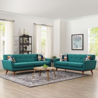 Engage Loveseat and Sofa Set of 2 (Teal)