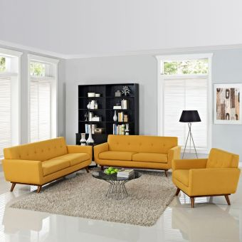 Engage Sofa Loveseat and Armchair Set of 3 (Citrus)