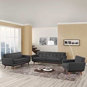 Engage Sofa Loveseat and Armchair Set of 3 (Gray)