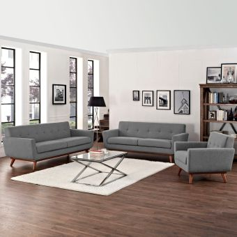 Engage Sofa Loveseat and Armchair Set of 3 (Expectation Gray)